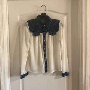 White sheer top with denim